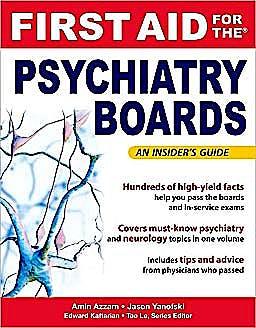 Portada del libro 9780071499866 First Aid for the Psychiatry Boards