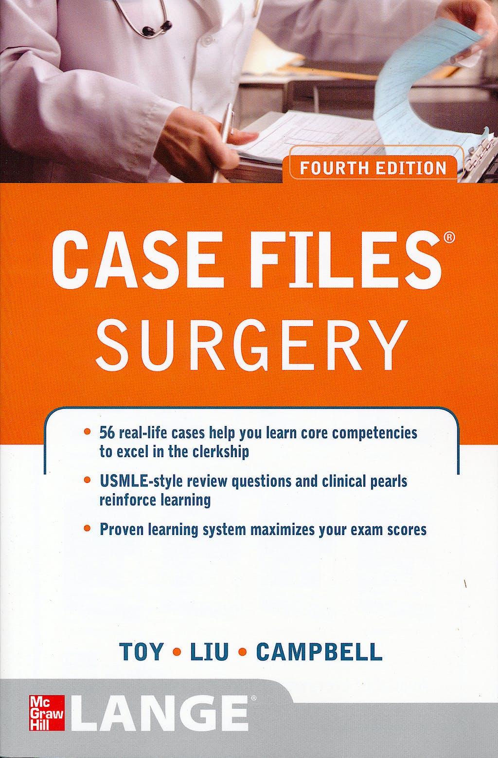 Portada del libro 9780071766999 Case Files Surgery LANGE