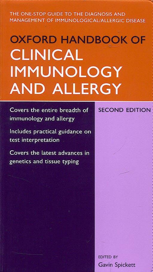 Portada del libro 9780198528661 Oxford Handbook of Clinical Inmunology and Allergy