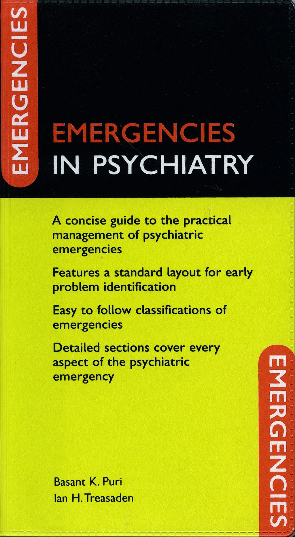 Portada del libro 9780198530800 Emergencies in Psychiatry