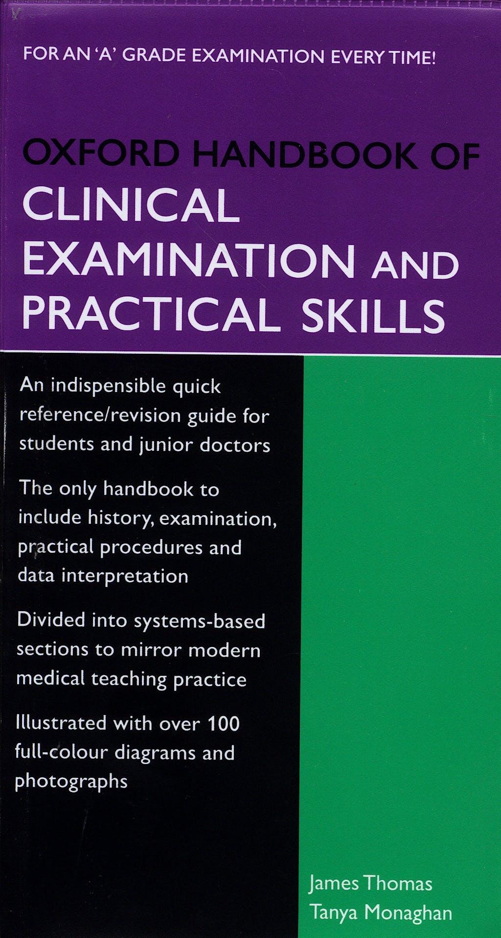 Portada del libro 9780198568384 Oxford Handbook of Clinical Examination and Practical Skills