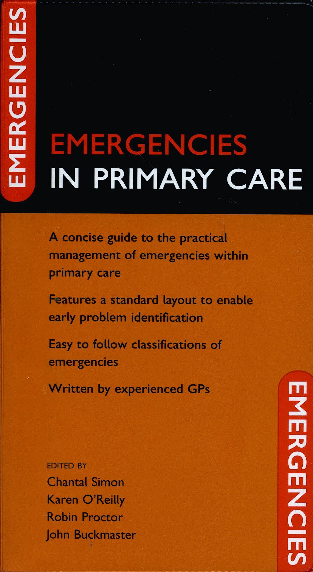 Portada del libro 9780198570684 Emergencies in Primary Care