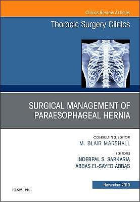 Portada del libro 9780323709026 Paraesophageal Hernia Repair (An Issue of Thoracic Surgery Clinics)