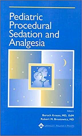 Portada del libro 9780683305586 Pediatric Procedural Sedation and Analgesia