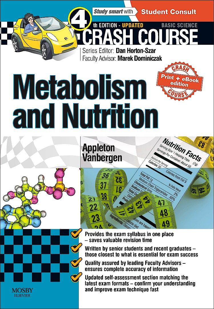 Portada del libro 9780723438533 Crash Course: Metabolism and Nutrition