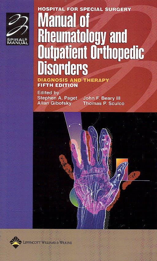 Portada del libro 9780781763004 Manual of Rheumatology and Outpatient Orthopedic Disorders. Diagnosis