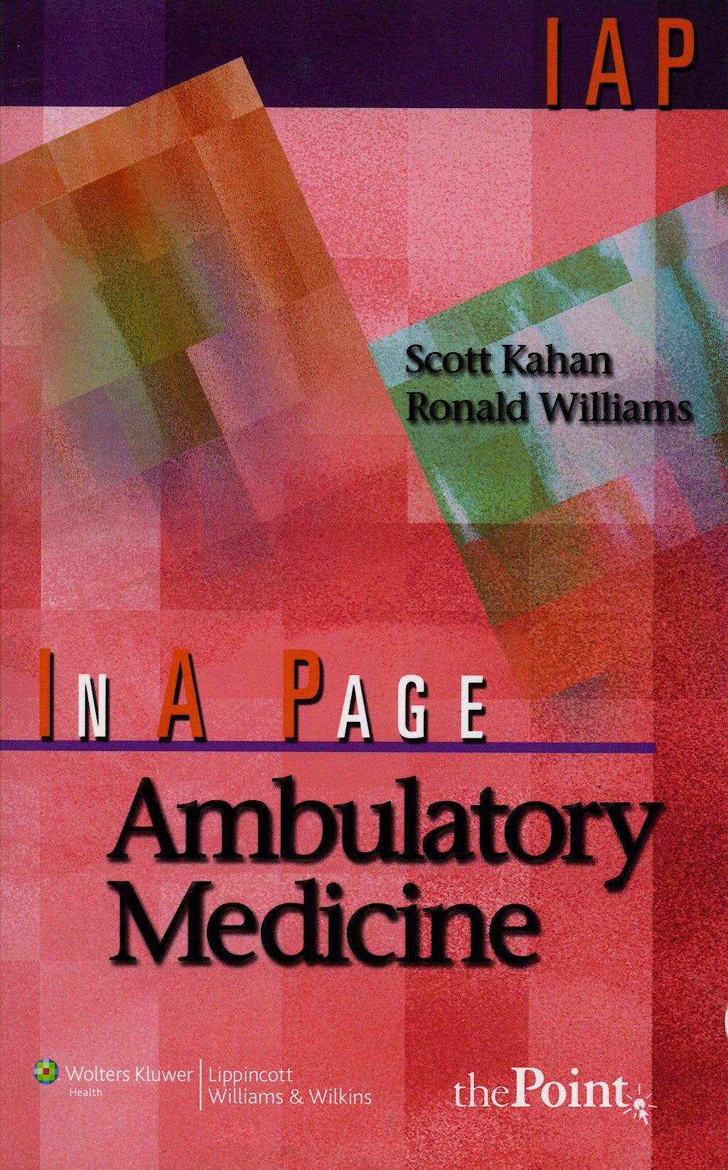 Portada del libro 9780781764957 In a Page Ambulatory Medicine (In a Page Series)