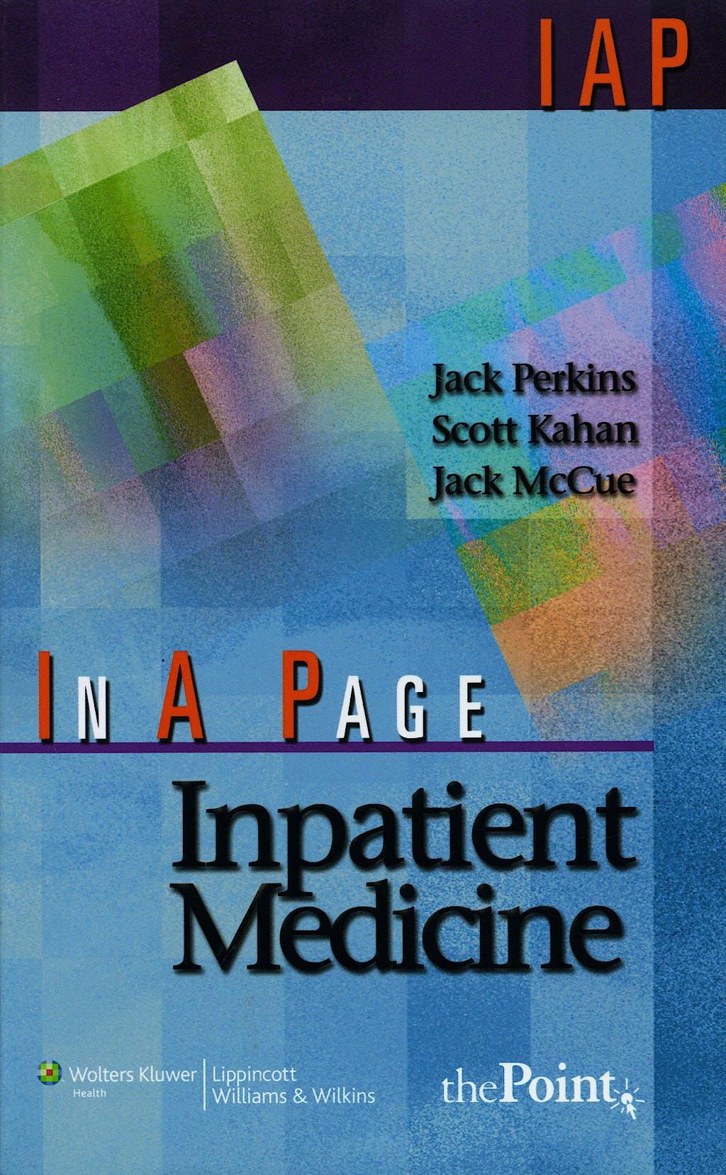 Portada del libro 9780781764995 In a Page Inpatient Medicine
