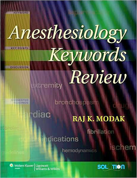 Portada del libro 9780781783873 Anesthesiology Keywords Review