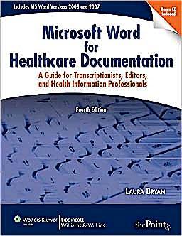 Portada del libro 9780781797146 Microsoft Word for Healthcare Documentation. a Guide for Transcriptionists, Editors, and Health Information Professionals