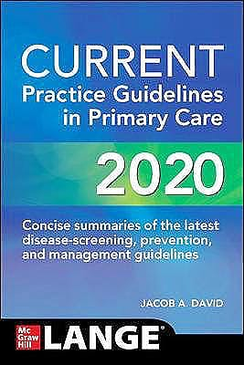 Portada del libro 9781260469844 Current Practice Guidelines in Primary Care 2020 LANGE