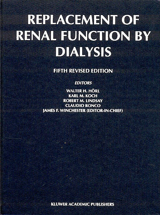 Portada del libro 9781402000836 Replacement of Renal Function by Dialysis