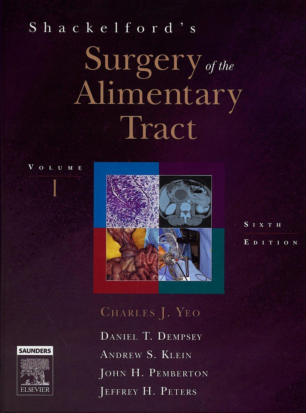 Portada del libro 9781416023579 Shackelford's Surgery of the Alimentary Tract, 2 Vols. + Cd-Rom