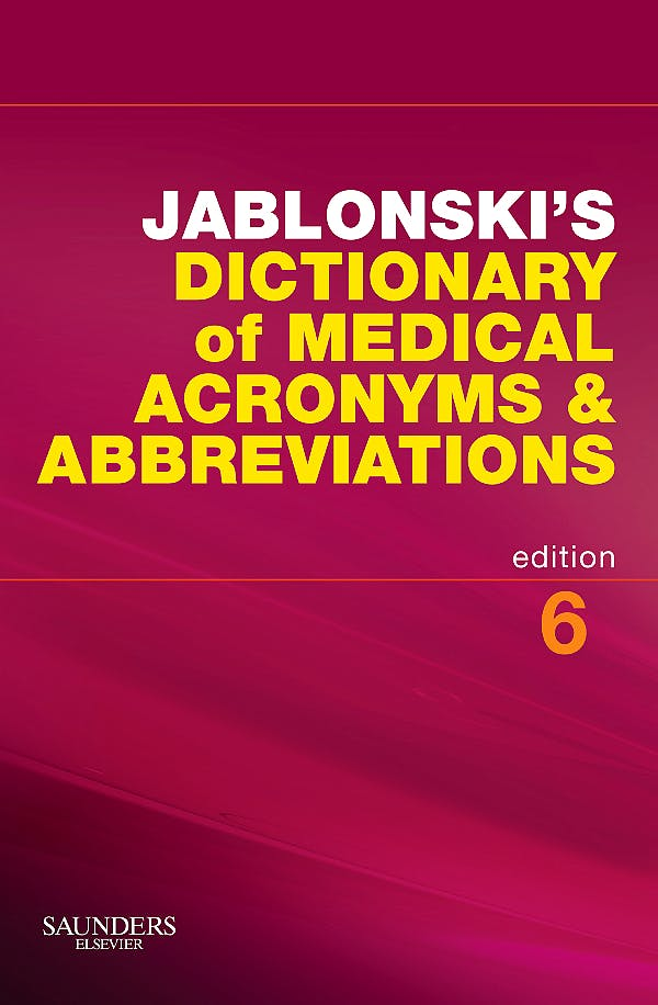 Portada del libro 9781416058991 Jablonski's Dictionary of Medical Acronyms and Abbreviations with Cd-Rom