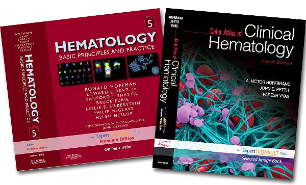 Portada del libro 9781437706475 Hoffman Hematology Premium Edition 5e + Hoffbrand Color Atlas of Clinical Hematology 4e Package