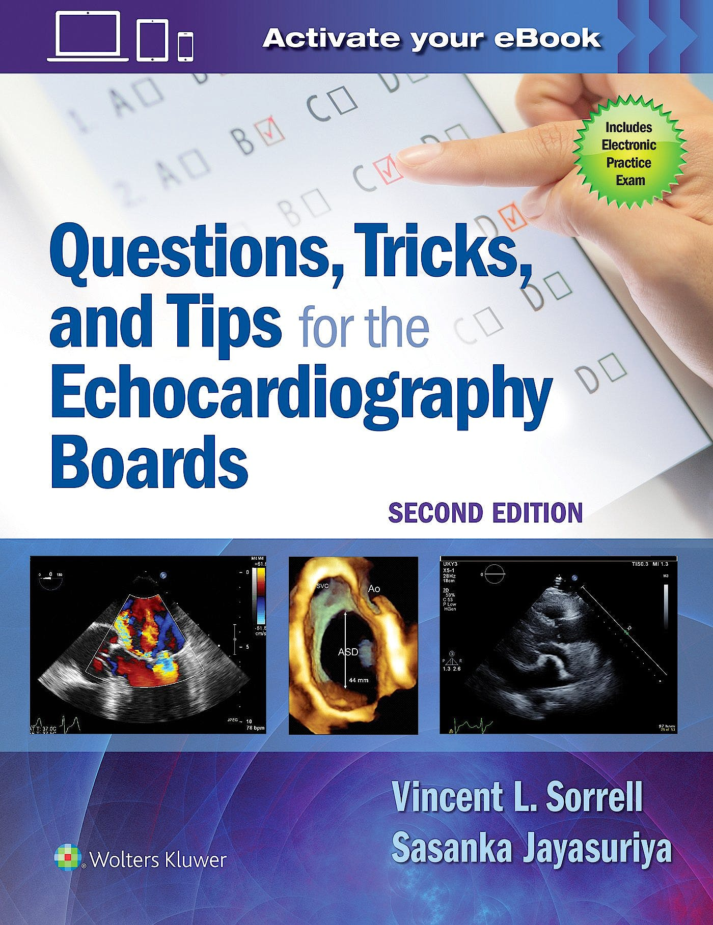 Portada del libro 9781496370297 Questions, Tricks, and Tips for the Echocardiography Boards