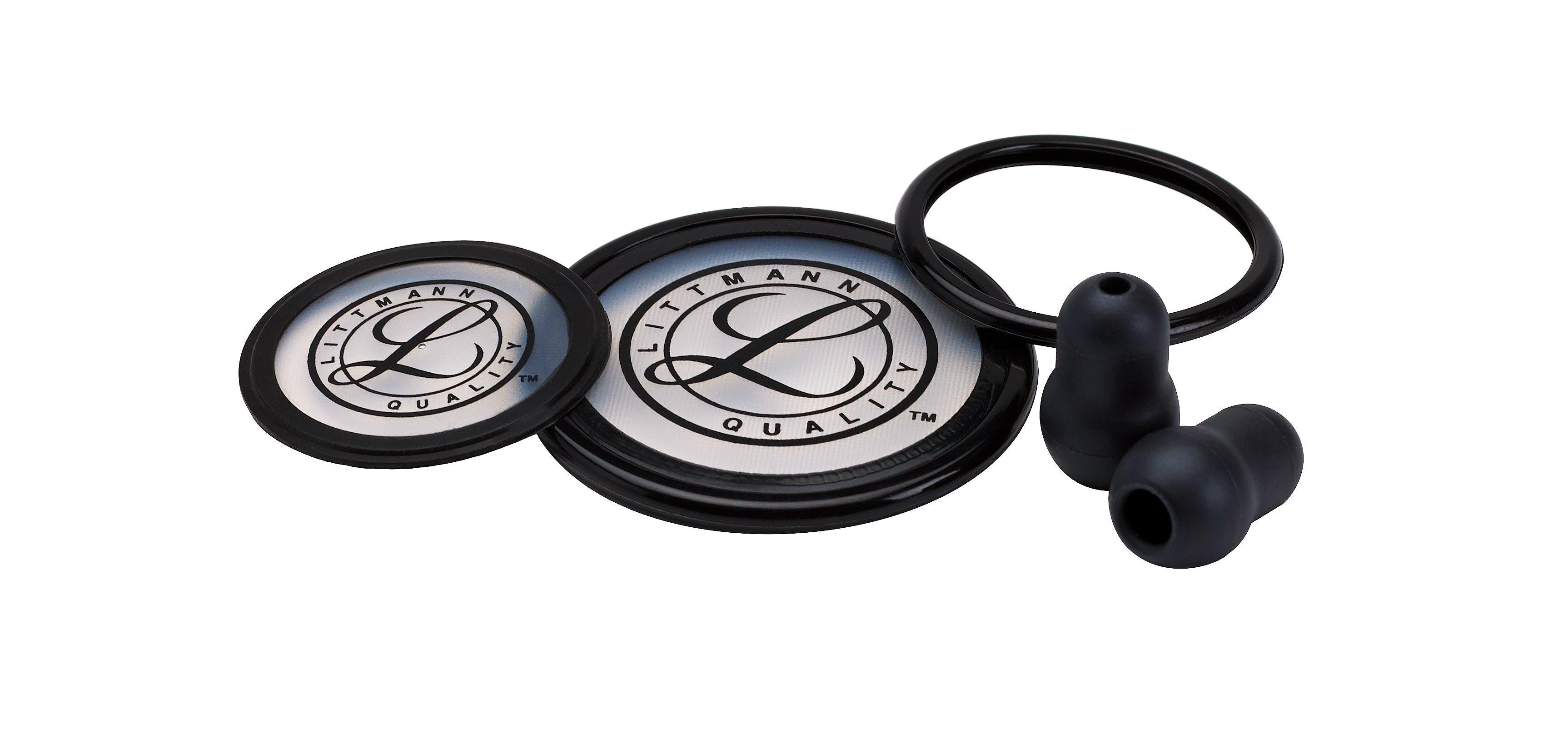 Littmann Kit Repuesto Cardiology III Negro (Olivas Blandas, Aro y Diafragma de Doble Membrana Lado Adulto y Pediatrico)