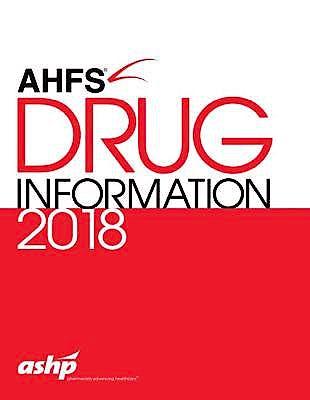 Portada del libro 9781585285792 AHFS Drug Information 2018
