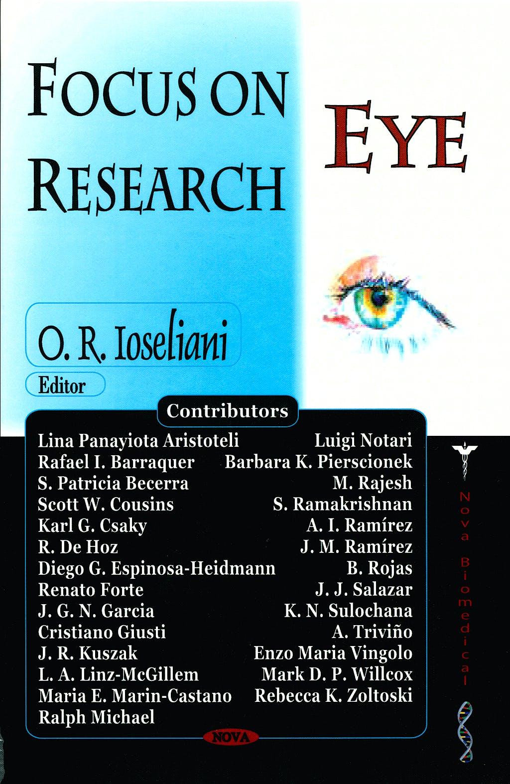 Portada del libro 9781594544347 Focus on Eye Research