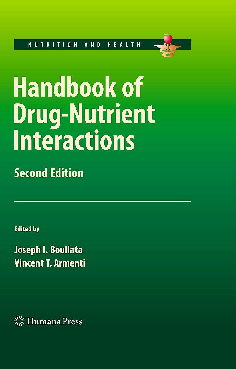Portada del libro 9781603273633 Handbook of Drug-Nutrient Interactions (Hardcover)