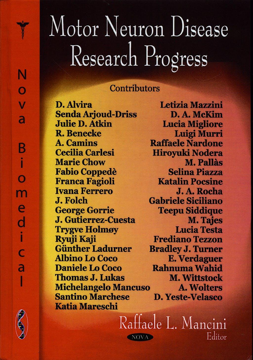 Portada del libro 9781604561555 Motor Neuron Disease Research Progress