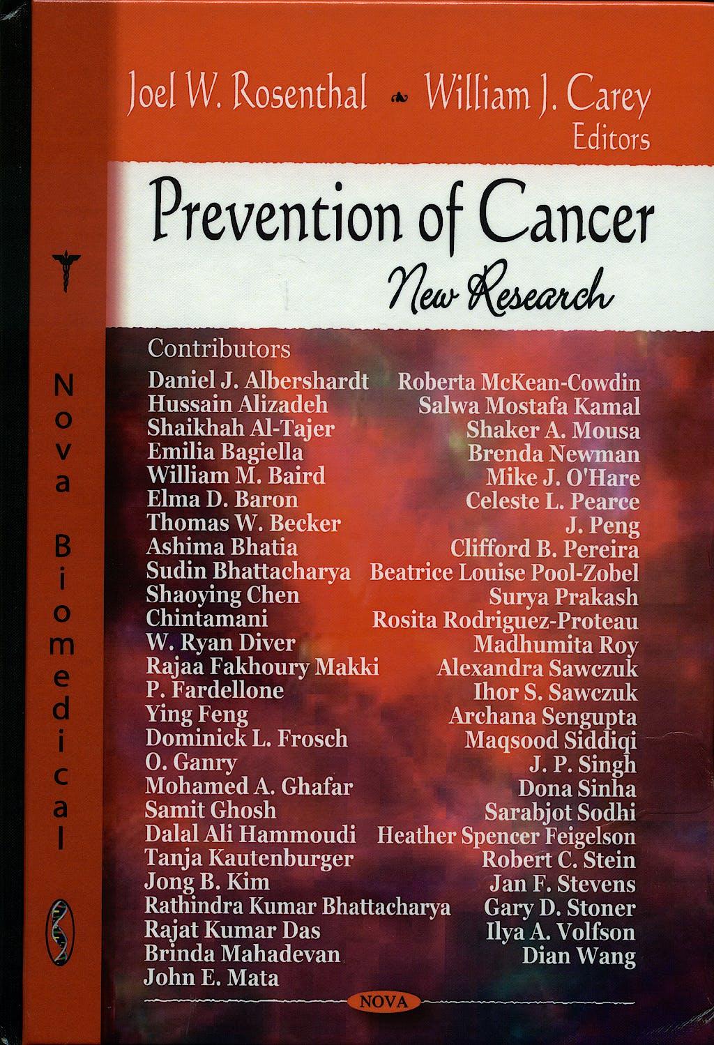 Portada del libro 9781604562293 Prevention of Cancer. New Research