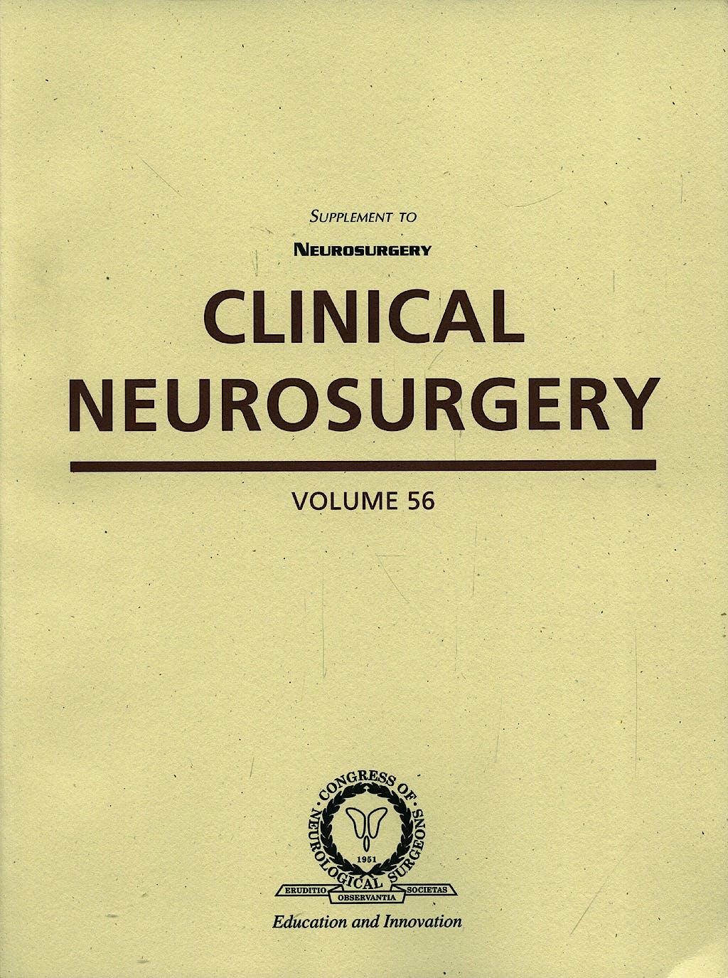 Portada del libro 9781608319077 Clinical Neurosurgery, Vol. 56