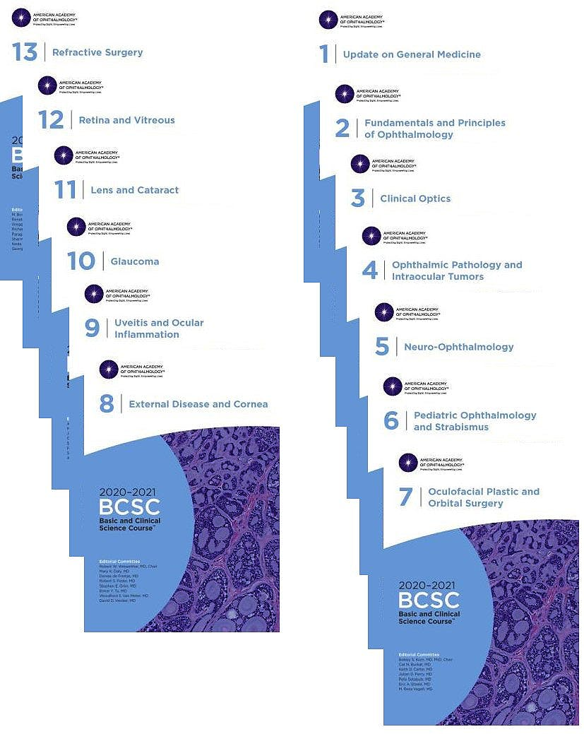 Portada del libro 9781681044002 Basic and Clinical Science Course 2020-2021, 13 Sections. Complete Print Set