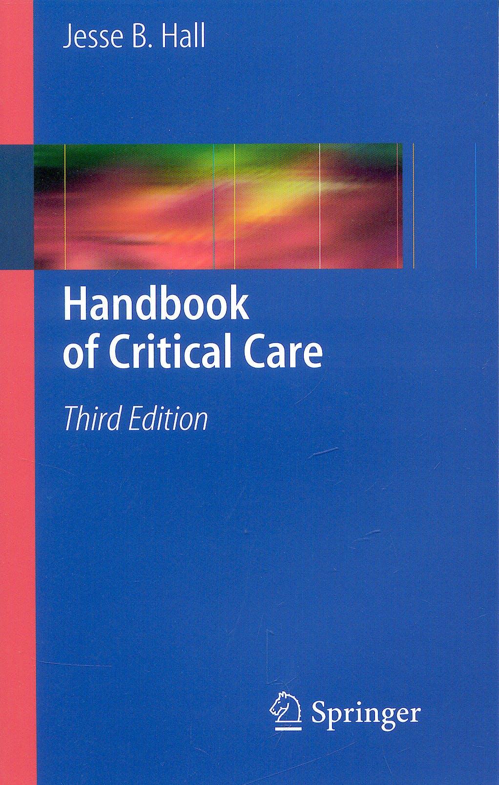 Portada del libro 9781848827233 Handbook of Critical Care