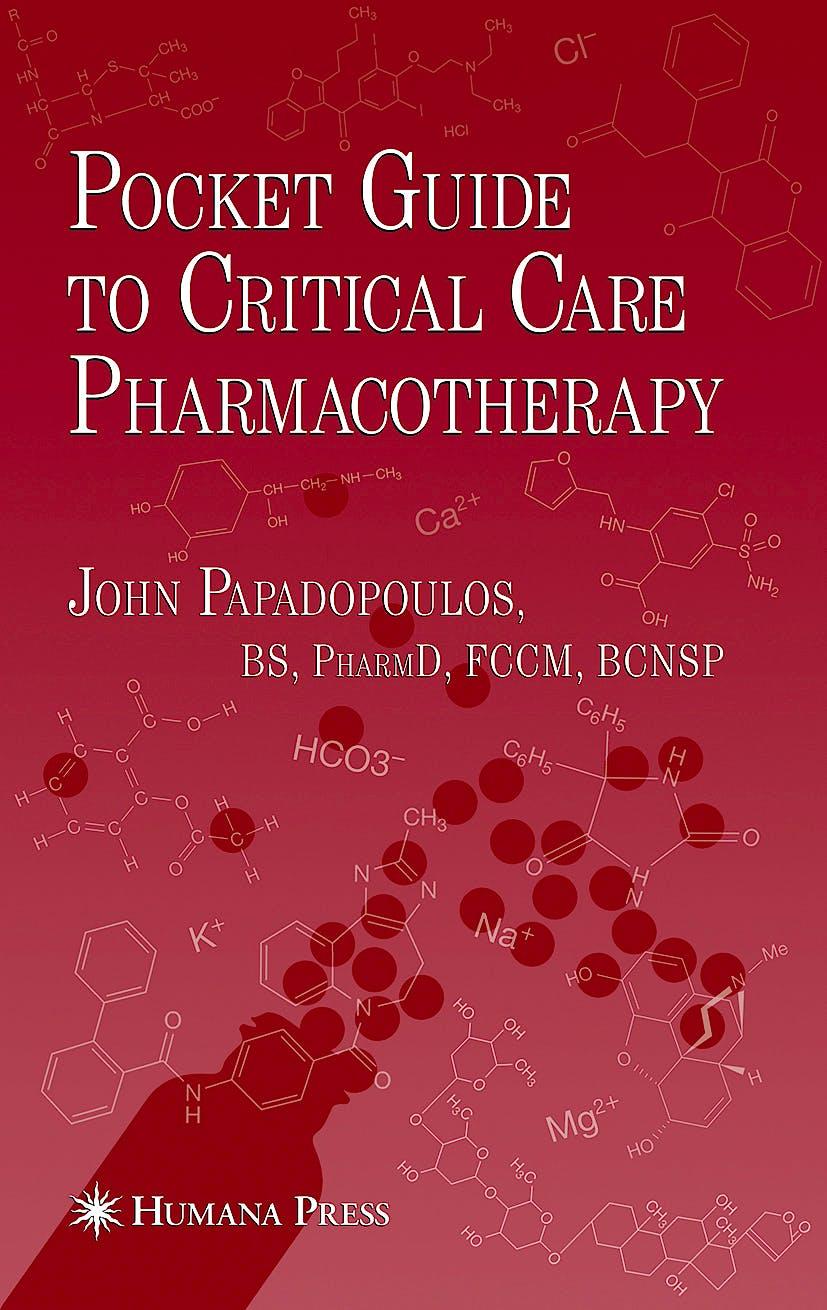 Portada del libro 9781934115459 Pocket Guide to Critical Care Pharmacotherapy