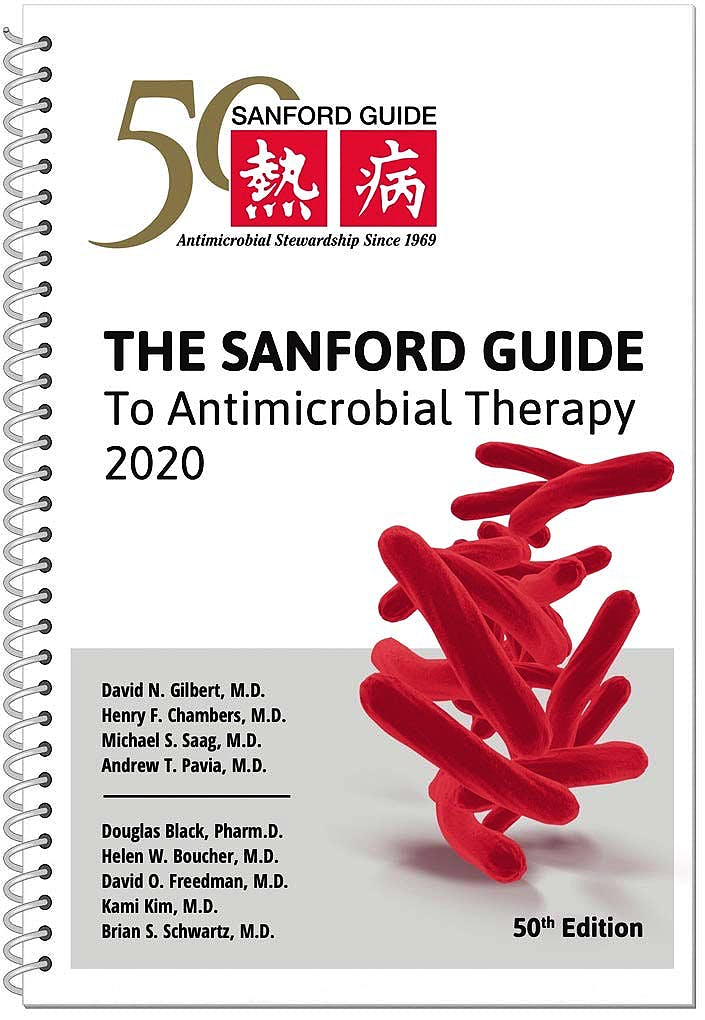 Portada del libro 9781944272142 The Sanford Guide to Antimicrobial Therapy 2020 Spiral Edition