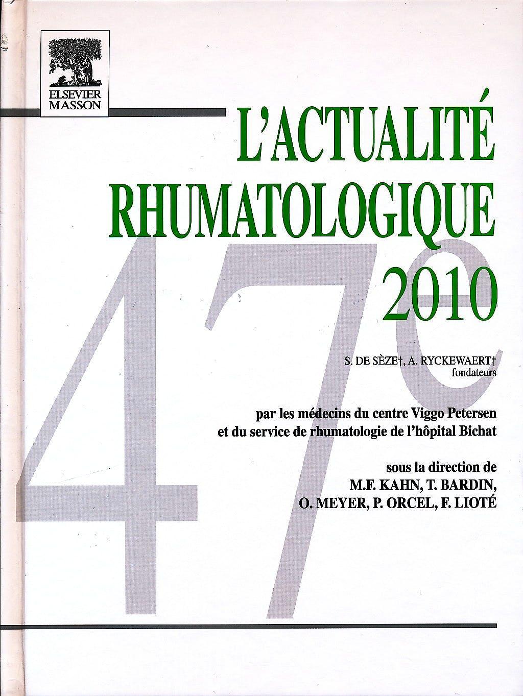 Portada del libro 9782294712913 L'actualite Rhumatologique 2010