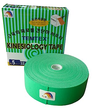 Temtex Kinesiology Tape: Caja de 1 Rollo de 32 m. x 5 cm., Color Verde