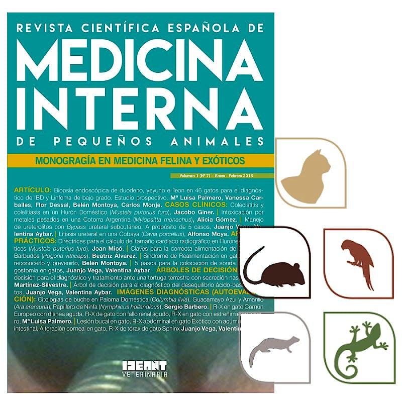 Portada del libro 9782919803194 Revista Científica Española de Medicina Interna de Pequeños Animales. Monografía en Medicina Felina y Exóticos (Vol. 1, Nº 7, Enero-Febrero 2018)