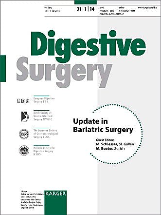 Portada del libro 9783318025392 Update in Bariatric Surgery (Digestive Surgery 2014, Vol. 31, No. 1)