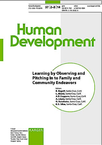 Portada del libro 9783318025828 Learning by Observing and Pitching-in to Family and Community Endeavors (Human Development 2014, Vol. 57, No. 2-3)