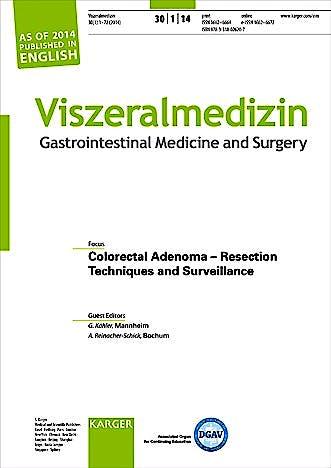 Portada del libro 9783318026207 Colorectal Adenoma - Resection Techniques and Surveillance. Special Topic Issue: Viszeralmedizin 2014, Vol. 30, No. 1