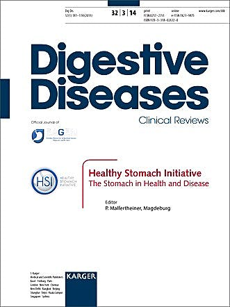 Portada del libro 9783318026320 Healthy Stomach Initiative. the Stomach in Health and Disease. Special Topic Issue: Digestive Diseases 2014, Vol. 32, No. 3