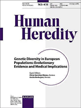 Portada del libro 9783318026795 Genetic Diversity in European Populations: Evolutionary Evidence and Medical Implications (Human Heredity 2013, Vol. 76, No. 3-4)