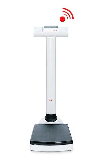 Báscula Electrónica de Columna SECA Mod. 703 con Transmisión Inalámbrica, Capacidad 300 kg., División 50/100 g., Función IMC