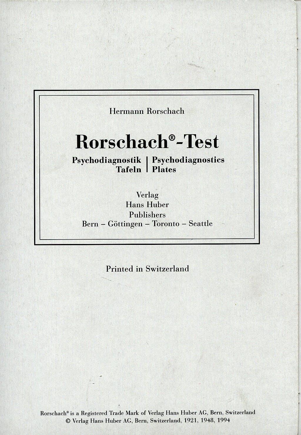 Portada del libro 9783456826059 Laminas del Test de Rorschach