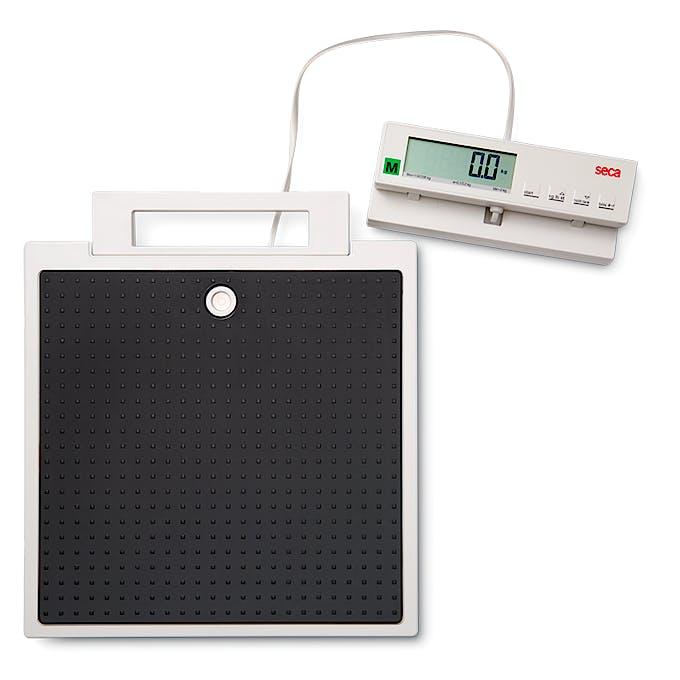 Báscula Electrónica de Suelo Clase III SECA Mod. 899, con Indicador Remoto por Cable, Capacidad 200 kg., División 100 g., Alimentación a Pilas