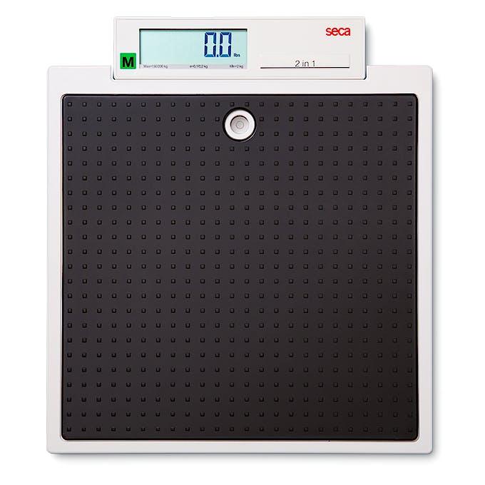 Báscula Electrónica de Suelo Clase III SECA Mod. 877, Función Madre-Bebé, Capacidad 200 kg., División 100 g., Alimentación a Pilas