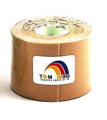 Temtex Kinesiology Tape: Caja de 8 Rollos de 5 m. x 3,75 cm., Color Beige