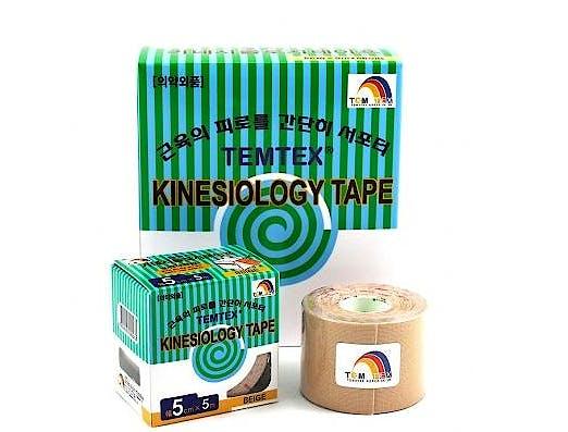 Temtex Kinesiology Tape: Caja de 6 Rollos de 5 m. x 5 cm., Color Beige