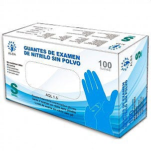 Guantes de Nitrilo Azul Kinefis Sin Polvo Talla XL, Caja 100 Unidades
