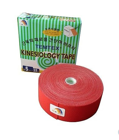 Temtex Kinesiology Tape: Caja de 1 Rollo de 32 m. x 5 cm., Color Rojo