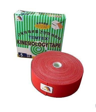 Temtex Kinesiology Tape: Caja de 1 Rollo de 32 m. x 5 cm., Color Rojo