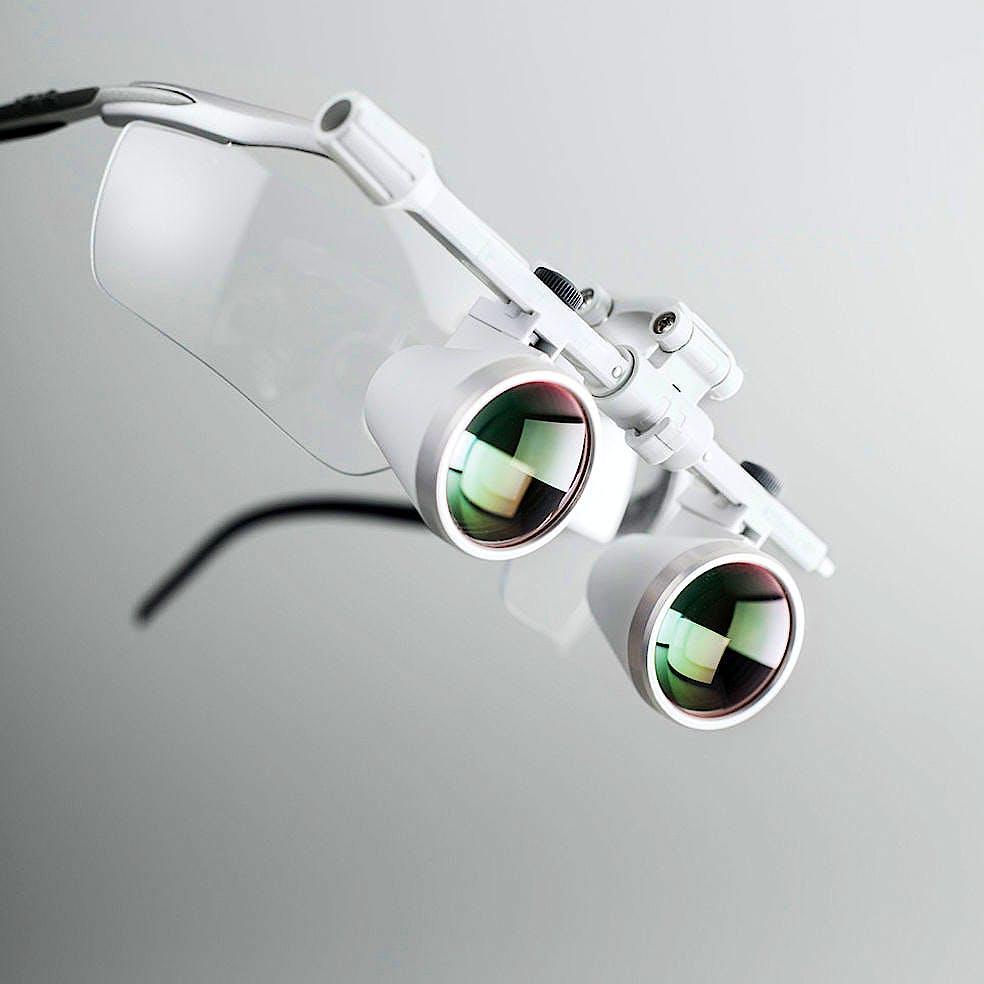Lupa Binocular Heine HR 2,5x/340 mm., con I-View sin -Guard, P/Cinta Craneal Profesional L, 2 Lentes de Prot. y 2 Palancas Est.