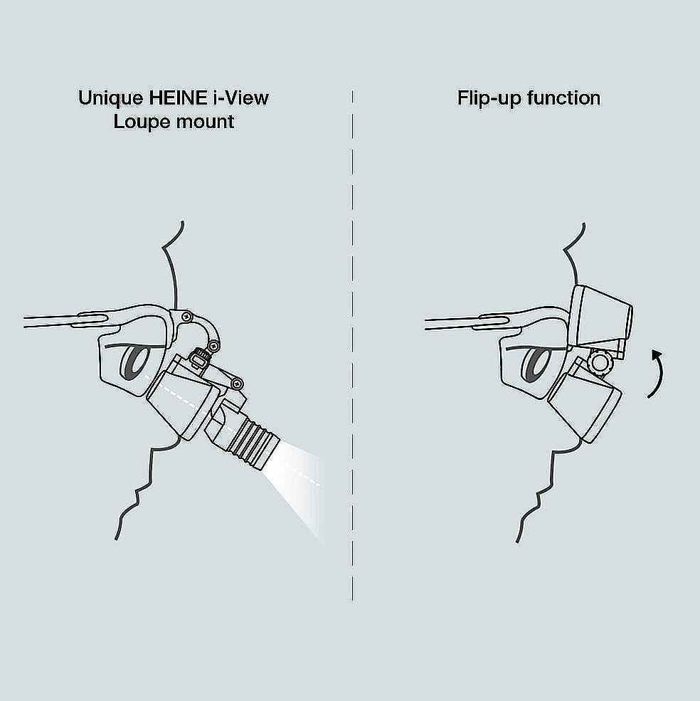 Lupa Binocular Heine HR 2,5x/340 mm., con Montura S-Frame, con Soporte I-View, en Maletín